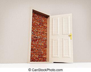 ドア, 先導, イラスト, wall., れんが, 開いた, 3d