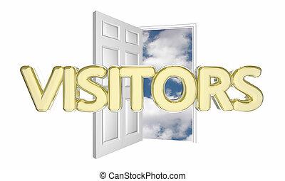 ドア, 入ってくる, イラスト, 訪問者, 交通, 単語, 開いた, 3d