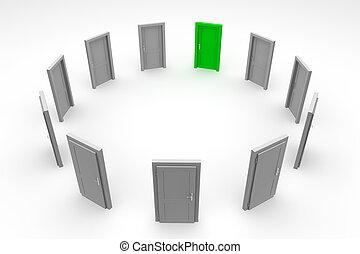ドア, 円, -, 緑, 閉じられた