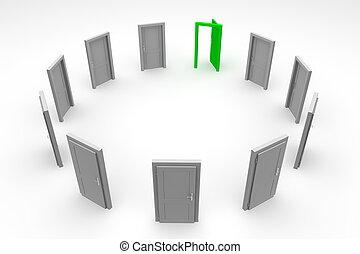 ドア, 円, -, 緑, 開いた