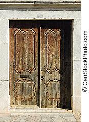 ドア, 刻まれた, 古い