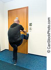 ドア, 力, 開く, 人