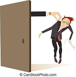 ドア, 取得, つば, 手, 悲しい, 現われる, 人