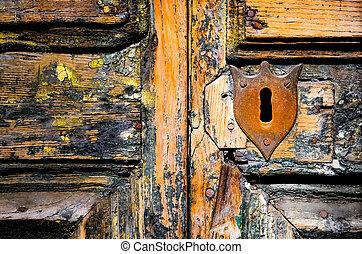 ドア, 外気に当って変化した, 木製である, 型, キー穴