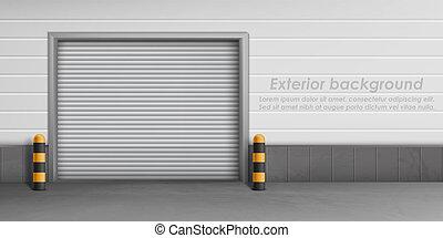 ドア, 外面, ガレージ, ベクトル, 背景, 閉じられた