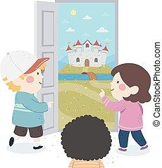 ドア, 子供, 城, イラスト, ファンタジー