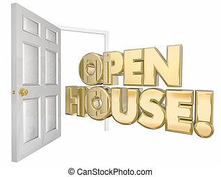 ドア, 家, セール, イラスト, 言葉, 家, 開いた, 3d