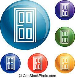 ドア, 家, ベクトル, セット, アイコン