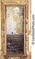 ドア, 家, 瓦礫, 古い, 壊される