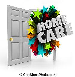 ドア, 家, 療法, 待遇, cal, ホスピス, 家, 健康診断, 開いた, 心配