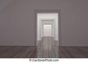 ドア, 廊下, 白, 開いた