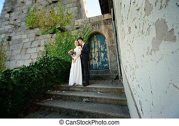 ドア, 恋人, 古い, 背景, 結婚式