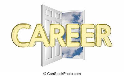ドア, 成功, 開始, キャリア, イラスト, 仕事, 新しい, 昇進, 3d