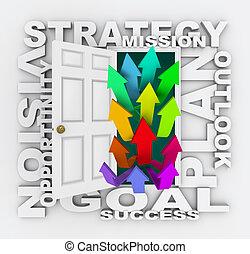 ドア, 成功, 開始, 代表団, 作戦, 未来, 計画