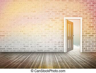 ドア, 提示, 開始, 青い空