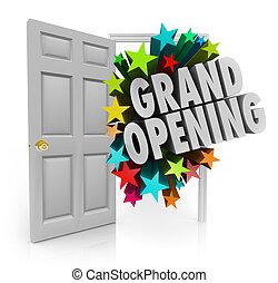 ドア, 星, 開始, 大きい, 壮大, セール, 言葉, 招待, 開いた