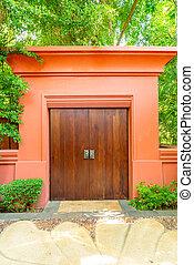 ドア, 木, 壁, 木製である