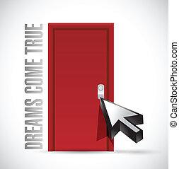 ドア, 来なさい, イラスト, デザイン, 本当, 夢