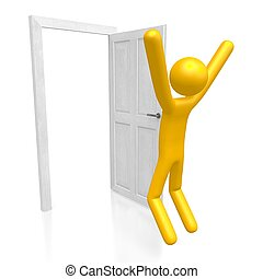 ドア, 概念, 3d, 喜び