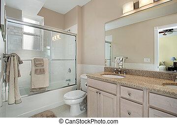 ドア, 浴室, シャワー, ガラス, マスター, 滑っている