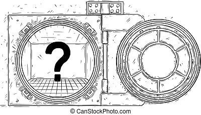 ドア, 漫画, ベクトル, 地下, 開いた, 図画, 空