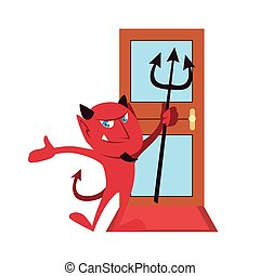 ドア, 漫画, 前部, ハロウィーン, ベクトル, 悪魔, デザイン