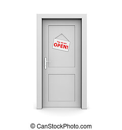 ドア, 灰色, サインを閉じた