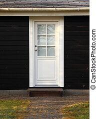 ドア, 白, 木製である, 黒, 隔離された, 家