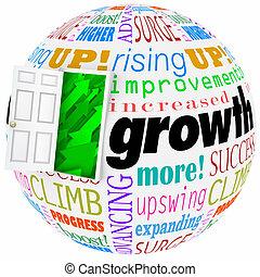 ドア, 結果, 成長, 上昇, 言葉, 改良, 増加, 開いた, もっと