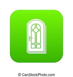 ドア, 緑, アーチ形にされる, アイコン