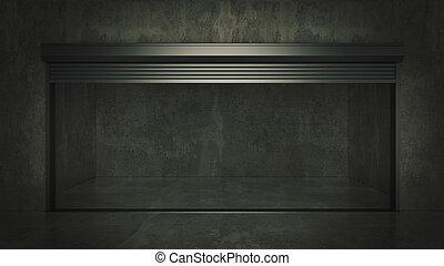 ドア, 自己, 貯蔵, レンダリング, ユニット, 開いた, 空, 3d