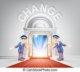 ドア, 赤, 変化しなさい, カーペット