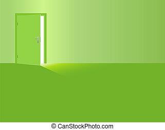 ドア, 部屋, ライト, 日光, 緑, 開いた