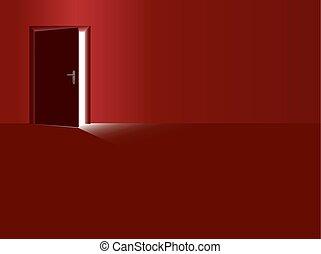 ドア, 部屋, ライト, 発生, 開いた, 赤