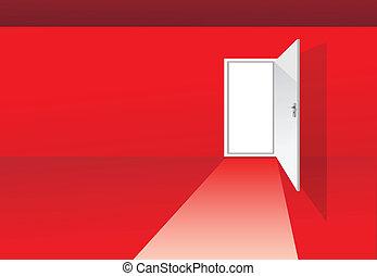ドア, 部屋, 赤