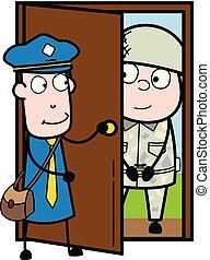 ドア, 郵便集配人, 急使, 開始, -, イラスト, 兵士, ベクトル, レトロ, 歓迎, 人, 漫画