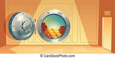 ドア, 金, -, ベクトル, 背景, 地下, 銀行