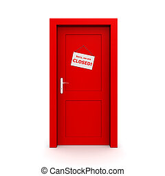ドア, 閉じられた, 赤, 印