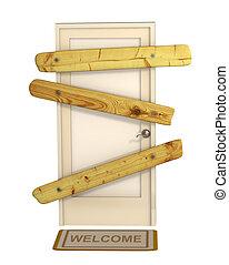 ドア, 閉じられた, 3d