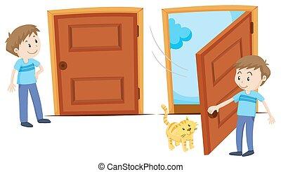 ドア, 開いた, 閉じられた