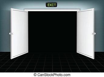 ドア, 開いた, 隔離された
