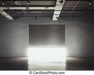 ドア, 開始, 貯蔵, facility., garage., レンダリング, 3d