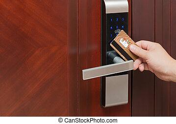 ドア, 開始, 錠, セキュリティー, 電子, カード