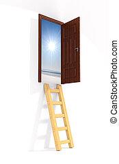 ドア, 階段, 隔離された, イラスト, バックグラウンド。, 白, 3d