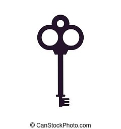 ドア, 隔離された, fairytale, アイコン, レトロ, キー, オブジェクト
