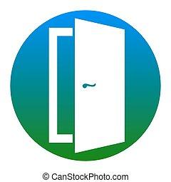 ドア, illustration., isolated., 印, バックグラウンド。, vector., 白, 薄青い, 円, アイコン