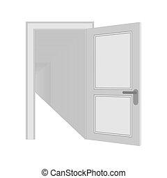 ドア, isolated., recursion, イラスト, ベクトル, ドア, 繰り返すこと, 開いた