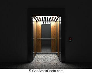 ドア, render, エレベーター, 現実的, 半分, 開いた, 空, 3d