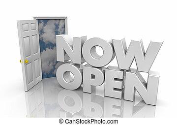 ドア, render, ビジネス, 開始, イラスト, 何時間も, 言葉, 壮大, 今, 開いた, 3d