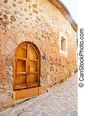ドア, valedemossa, 木製である, 地中海, majorca, アーチ